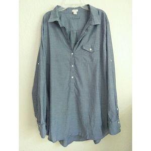 J Crew Chambray Popover Denim Shirt Xlarge